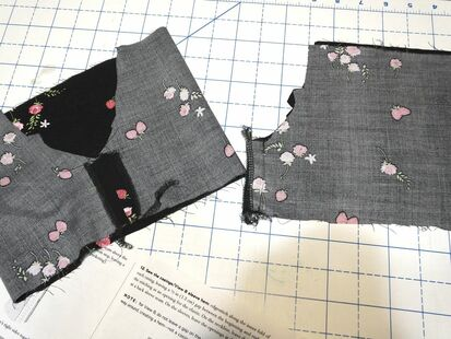 Rita blouse sleeves getting sewn up in the sewing to the moon tutorial sew along.