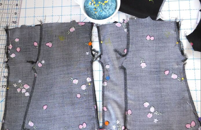 Rita Blouse pieces are pinned and ready to sew