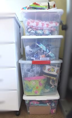 Store your fabric in clear bins so you can see what you have. Sewing to the moon