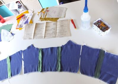 Butterick B5882 bodice pieces cut and layout