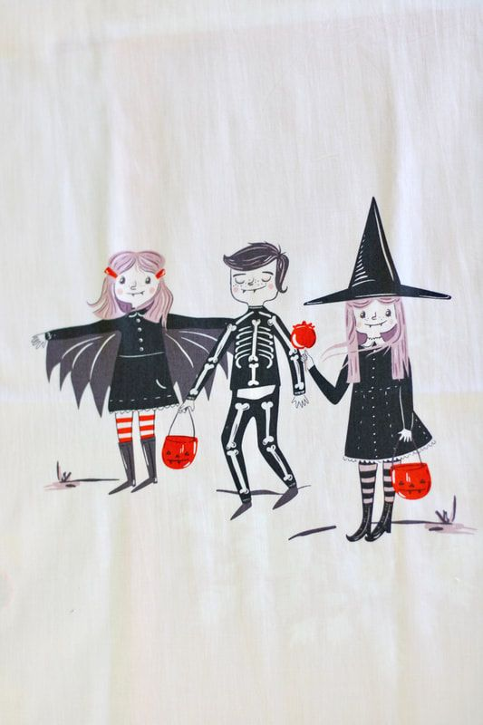 Halloween sewing AGF spooky and sweet fabric panel