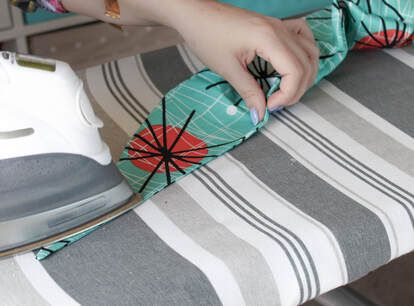 Iron as you sew. sewing a rockabilly weekend hair scarf