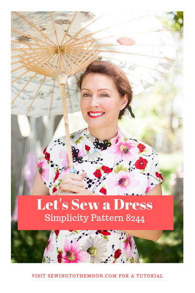 Simplicity 8244 Cheongsam sew along tutorial by sewing to the moon blog